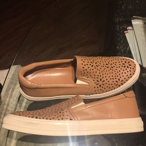 Tan slip on casual shoes